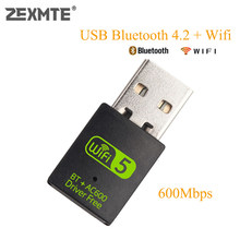 Zexmte 600Mbps Usb Wifi Bluetooth Adapter Dual Band 2.4/5Ghz Draadloze Externe Ontvanger Mini Wifi Dongle Voor pc/Laptop/Desktop