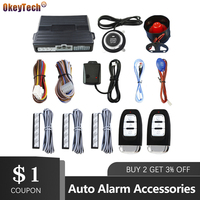 OkeyTech PKE Auto Alarm System With Keyless Entry Remote Engine Start Universal Vehicle Keyless Alarm Go Shock Warn Push Button