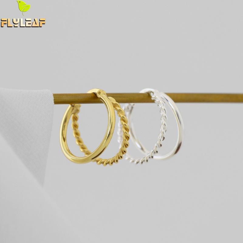 925 Sterling Silver Double Circle Hoop Earrings For Women INS Simple Style Handmade Fine Jewelry Flyleaf