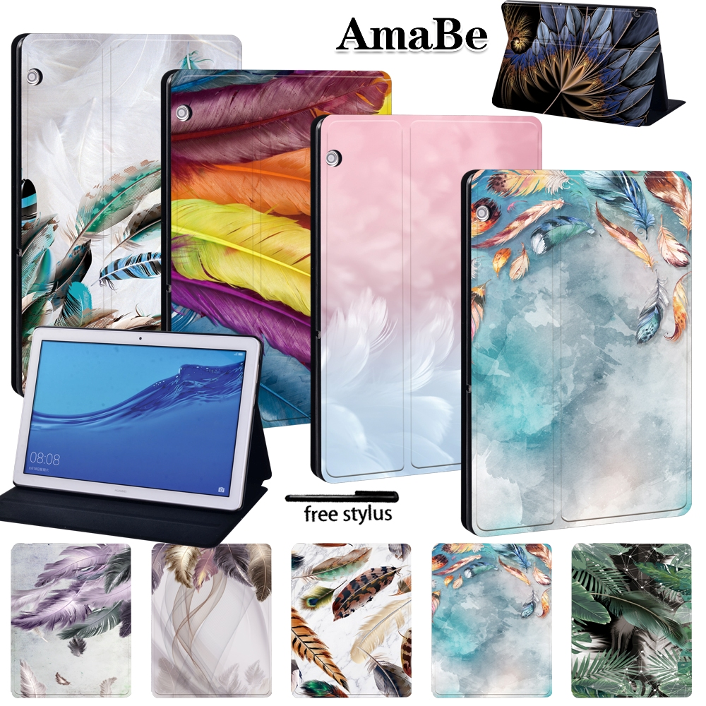 Feather Anti-Dust Soft Leather Cover Case For Huawei MediaPad T5 10 10.1inch Protective Skin Tablets Case