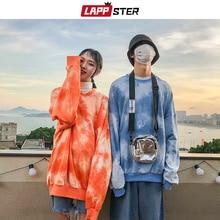 لابستر زوجين ملابس الشارع كبيرة الحجم هوديس 2020 الخريف الرجال Harajuku الكورية نمط بلوزات هوديي التعادل صبغ البرتقال هوديي