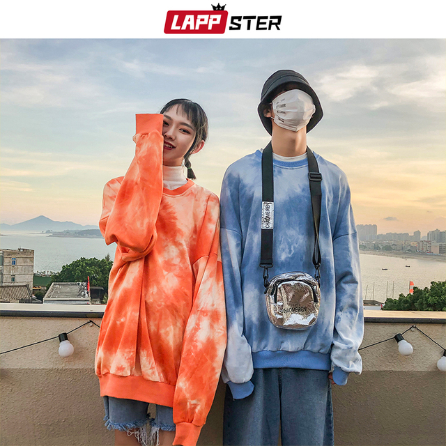 LAPPSTER Paar Übergroßen Streetwear Hoodies 2020 Herbst Männer Harajuku Koreanische Stil Sweatshirts Hoodie Tie Dye Orange Hoodie