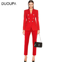 2019  Fashion Professional Wear Classic Double-breasted Suit + Nine Pants Two-piece Womens Special