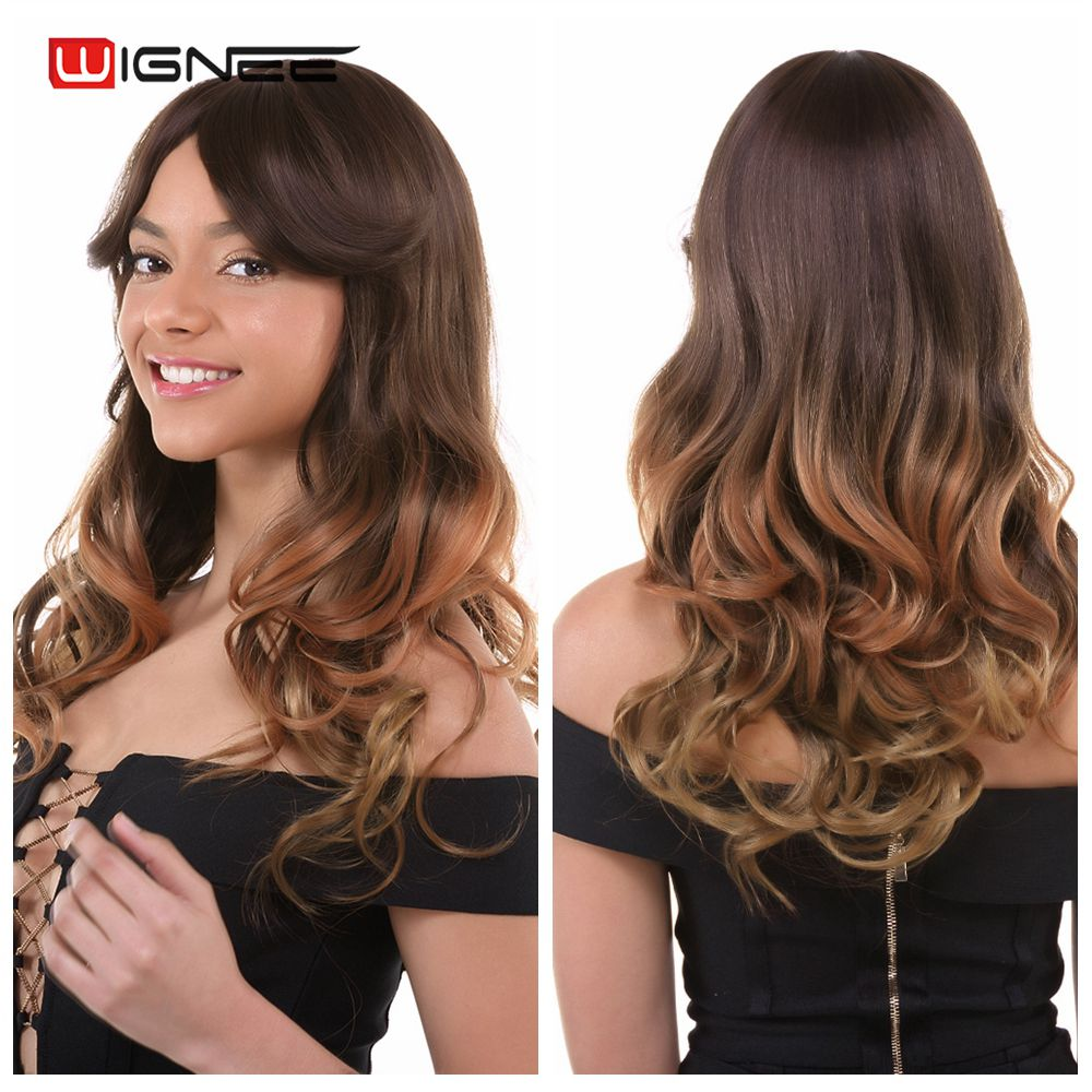"""Wignee Synthetic Wig With Bangs For Black White Women Long 24"""" Heat Resistant 3 Tone Ombre Color Glueless Brown Natural Hair Wig"""