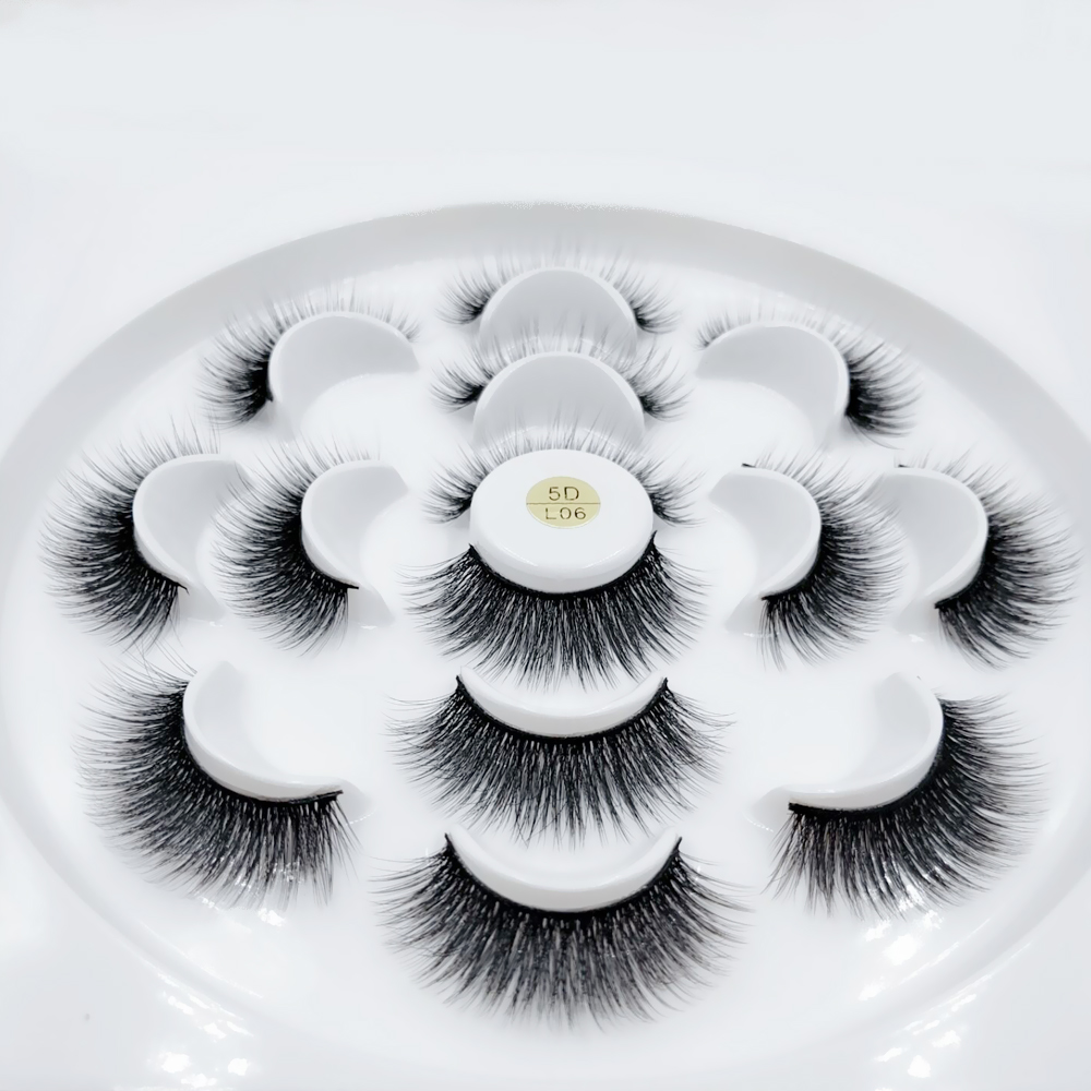 NEW 7 Pairs 5D Mink Hair False Eyelashes Criss-cross Wispy Cross Fluffy 11mm-19mm Lashes Extension Handmade Eye Makeup Tools