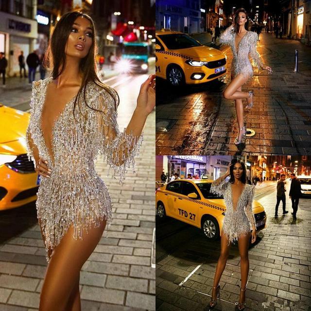 Sexy mini vestidos de cocktail profundo decote em v contas de renda borla ilusão manga longa vestido de noite festa wear feito sob encomenda