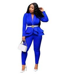 Echoine, Осенний блейзер с рюшами и штаны, комплект для женщин, комплект из двух предметов, OL, для работы, офиса, белый, деловой костюм, combinaison femme, ...