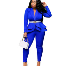 Echoine Autumn Ruffle blazer and pants set for women Two Piece Set