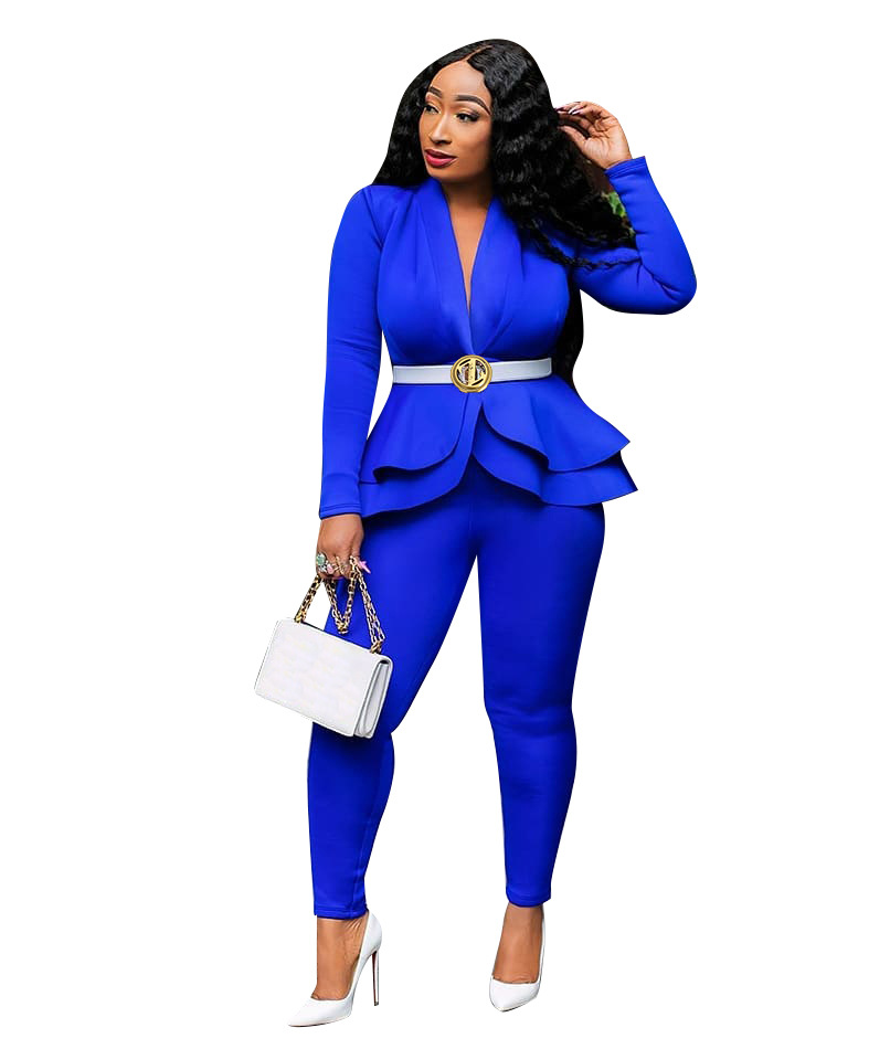 Echoine Autumn Ruffle Blazer And Pants Set For Women Two Piece Set OL Work Office White Business Suits Combinaison Femme White