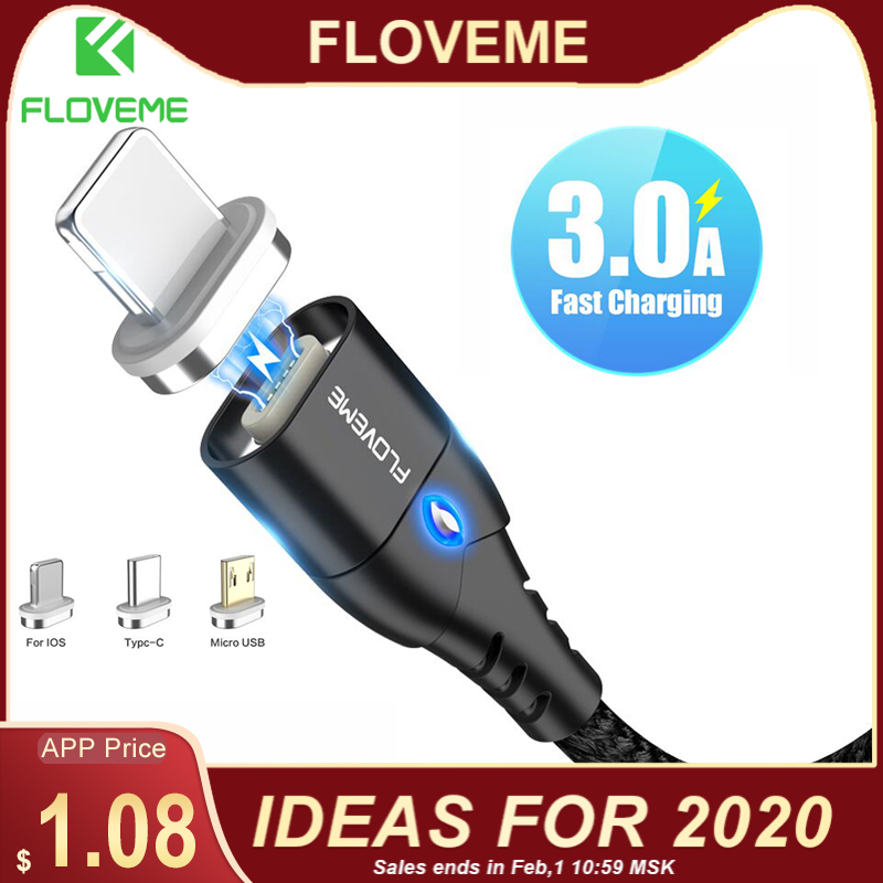 FLOVEME Magnetic Cable Micro USB Type C For iPhone Lighting Cable 1M 3A Fast Charging Wire Type C Magnet Charger Phone Cable-in Mobile Phone Cables from Cellphones & Telecommunications on AliExpress