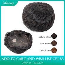 Isheeny настоящие человеческие волосы для мужчин, парик из натуральных черных волос, Топ парик для замены мужских Т-систем 15x18 см, шиньон для муж...