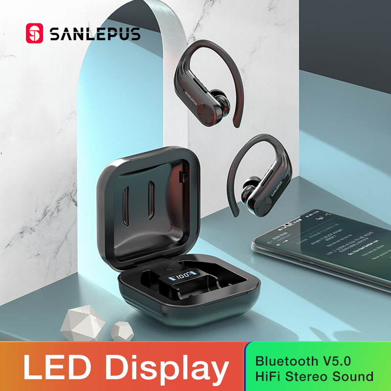 SANLEPUS B1 Led Display Bluetooth Earphone Wireless Headphones TWS Stereo Earbuds Waterproof Noise Cancelling Headset With Mic