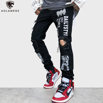 Aolamegs Men Hole Jeans Zipper Letter Printed Denim Ripped High Street Streetwear Hip Hop Homme Jeans Harajuku Pants for Men цена 2017