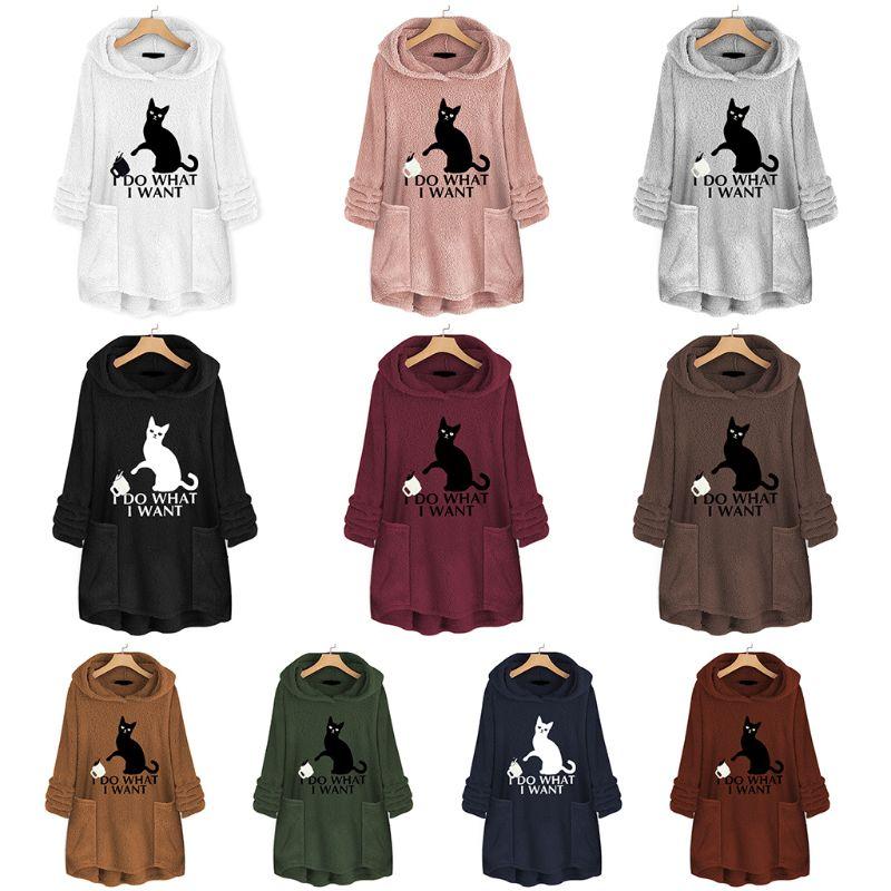 Womens Plus Size Winter Thicken Plush Hooded Sweatshirt Cute Lazy Cat Cartoon Printed Loose Asymmetric Hem Tunic Tops M-5XL