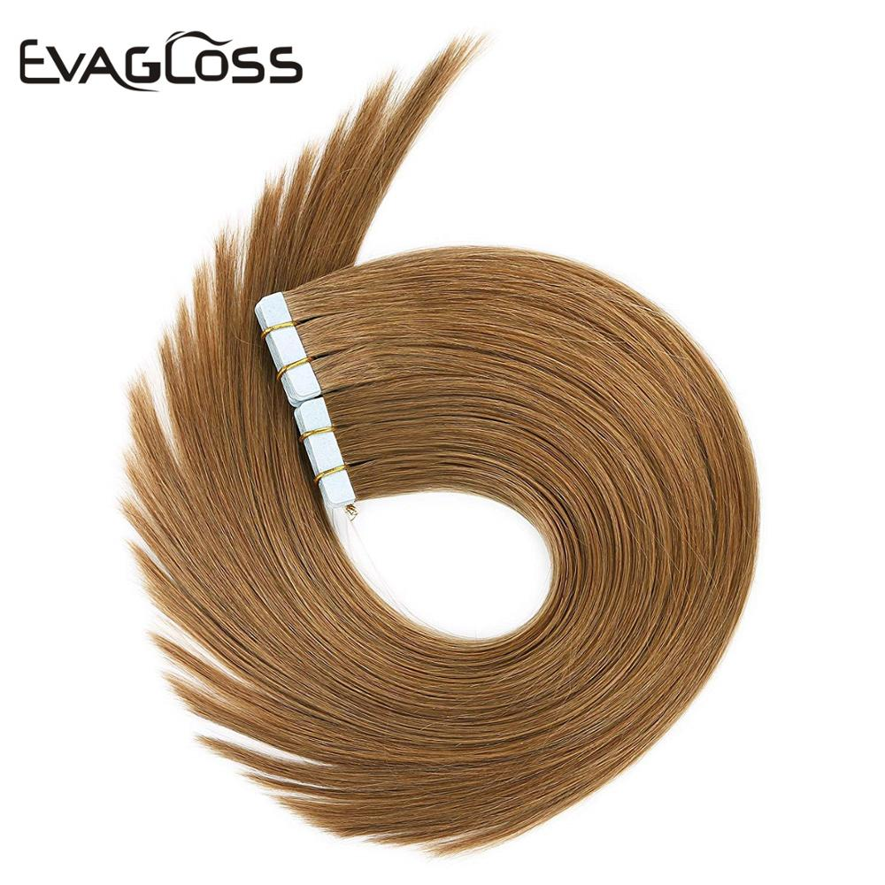 EVAGLOSS Skin Weft Machine Remy Tape In Human Hair Extension 20pcs 40pcs 80pcs Adhesive Tape Hair Extension 12