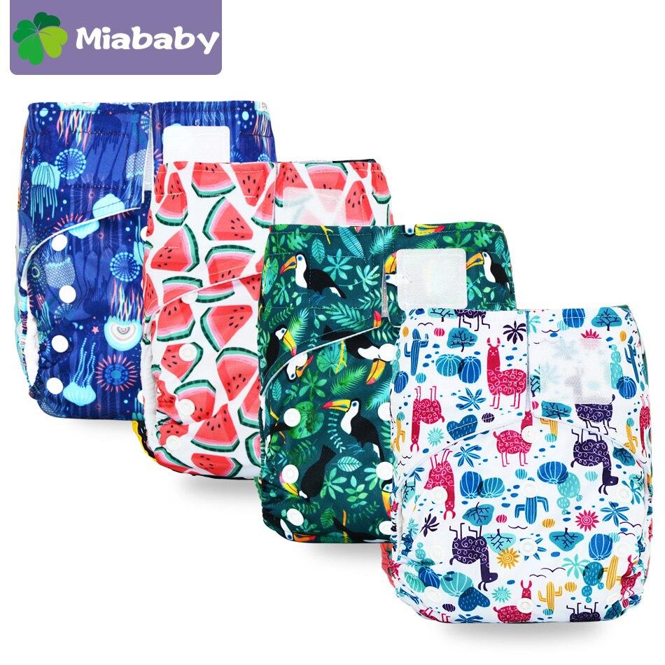 Miababy, один размер, замшевая ткань, карманные подгузники, быстро сохнут, экологичные, детские подгузники для девочек и мальчиков, многоразовы...