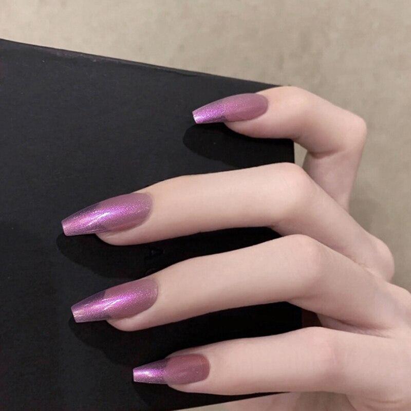 24pcs-Glossy-White-False-Nails-Extra-Long-Ballerina-Coffin-Aurora-Neon-Purle-UV-Gel-Glue-On