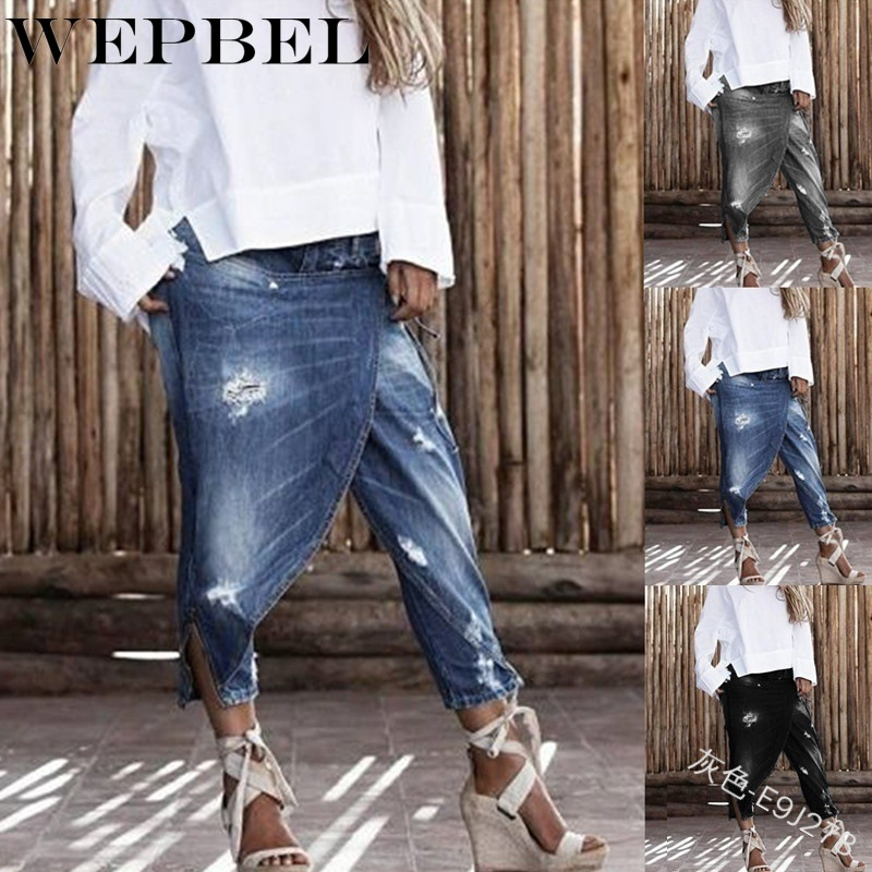 WEPBEL Women's Denim Cross-pants Low Waist Hole Jeans Loose Casual Pants Fashion Irregular Ankle-Length Jeans