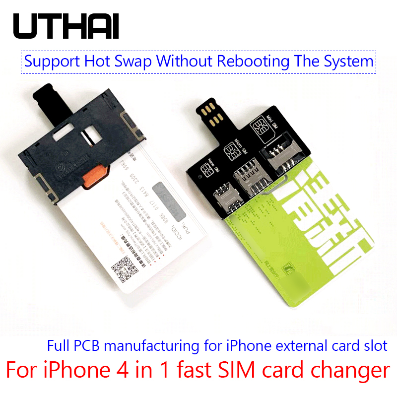 UTHAI T10 For IPhone SIM Card 4in1 External Card Slot Adapter Fast Card Changer IPhone SIM Card Reader Holder Free Reboot Nano
