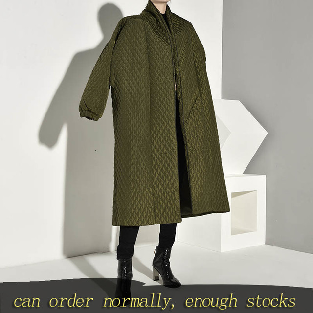 LANMREM  PLaided Cotton padded New Green Color Coat Long Sleeve Loose Fit Women Parkas Fashion Tide New Autumn Winter 2020