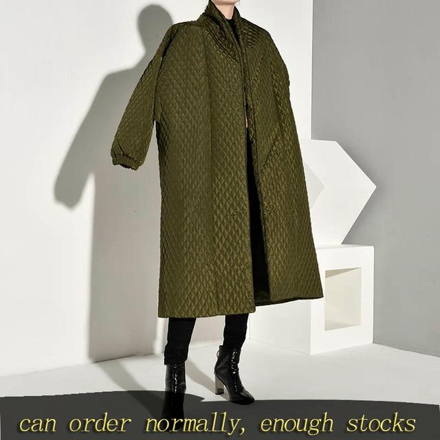 LANMREM PLaided bawełny wyściełane nowy zielony kolor płaszcz z długim rękawem luźny krój kobiety parki moda fala nowa jesienna zima 2020