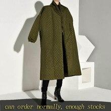 Lanmrem plaided algodão acolchoado novo casaco de cor verde manga longa solto ajuste feminino parkas moda maré novo outono inverno 2020