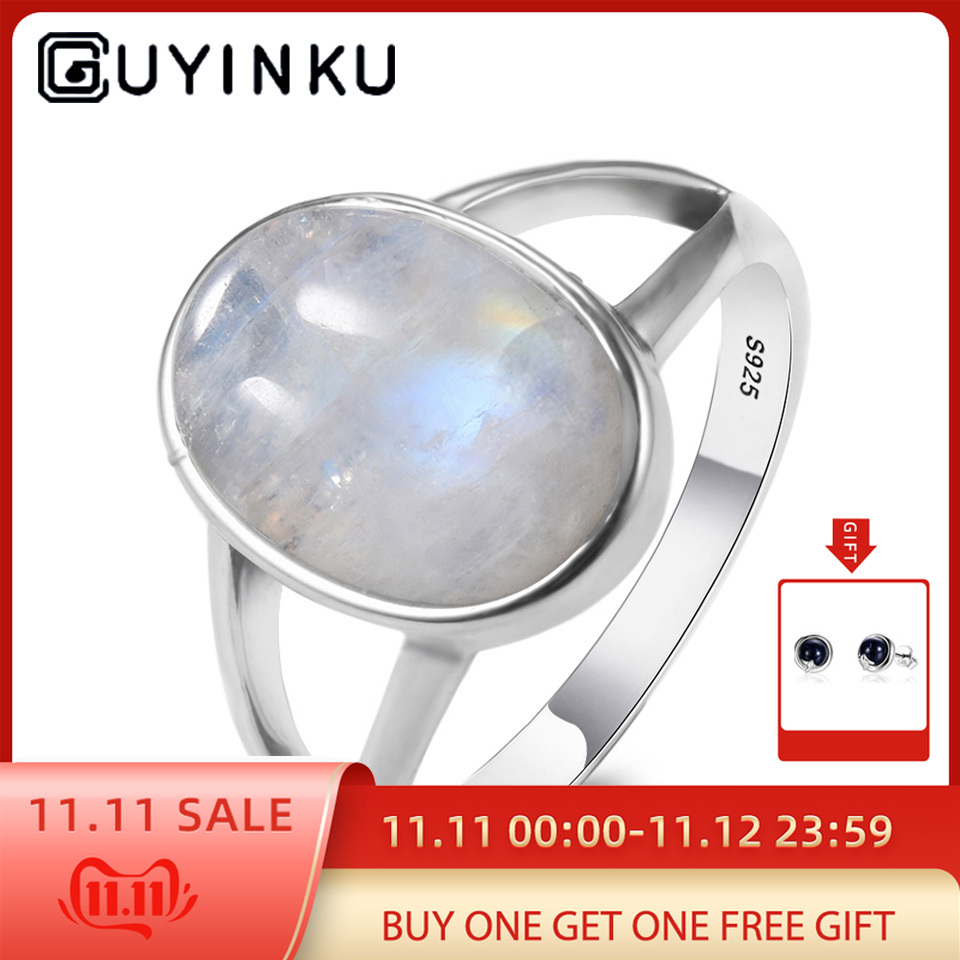 GUYINKU Classic 925 Sterling Silver Vintage Moonstone Rings For Women Gemstone Jewelry Anniversary Gifts For Women