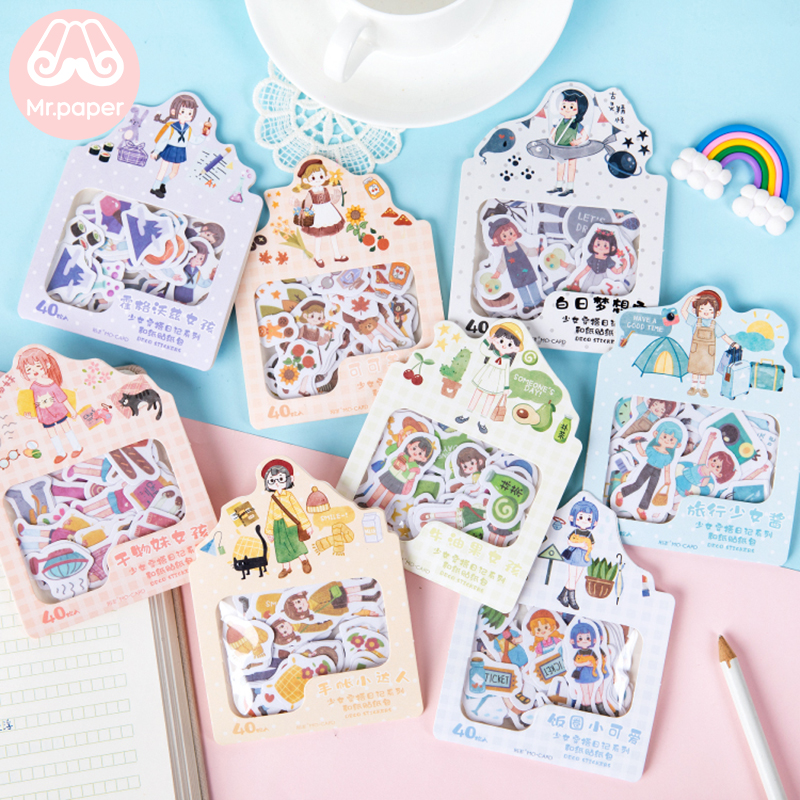 Mr.paper 40Pcs/bag 8 Designs Girl Diary Travel Cactus Deco Diary Stickers Scrapbooking Planner Decorative Stationery Stickers