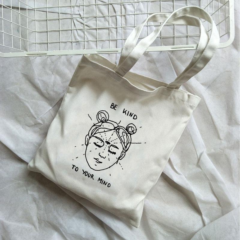 Harajuku Be Kind Korean Casual Canvas Bag Female Large Capacity Vintage Harajuku Shoulder Bag Summer Ulzzang Book Bags