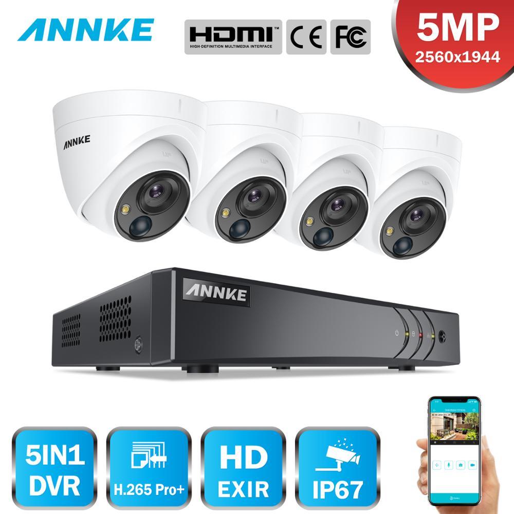 ANNKE 8CH 5MP système de caméra de sécurité 5MP Lite 5IN1 H.265 + DVR avec 4 pièces 5MP PIR HD EXIR dôme étanche Surveillance CCTV Kit