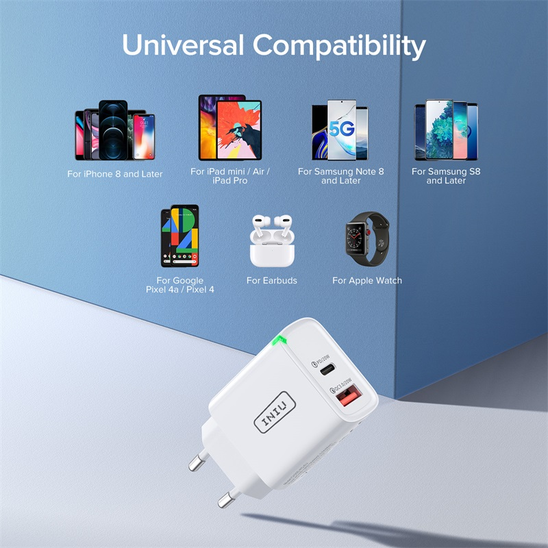 INIU PD 20W USB Type C Charger EU Adapter Fast Phone Charge For iPhone 12 11 X Xs Xr Pro Max 6 7 8 iPad Huawei Xiaomi LG Samsung 6