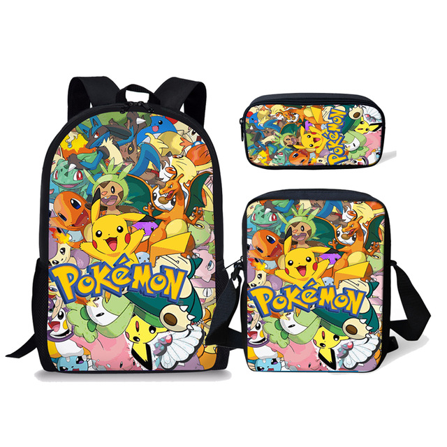 3PCS School Bag Set Cartoon Anime Pokemon Kids Backpack For Girls Boys Children Travel Daypack Orthopedic Pikachu Bookbags