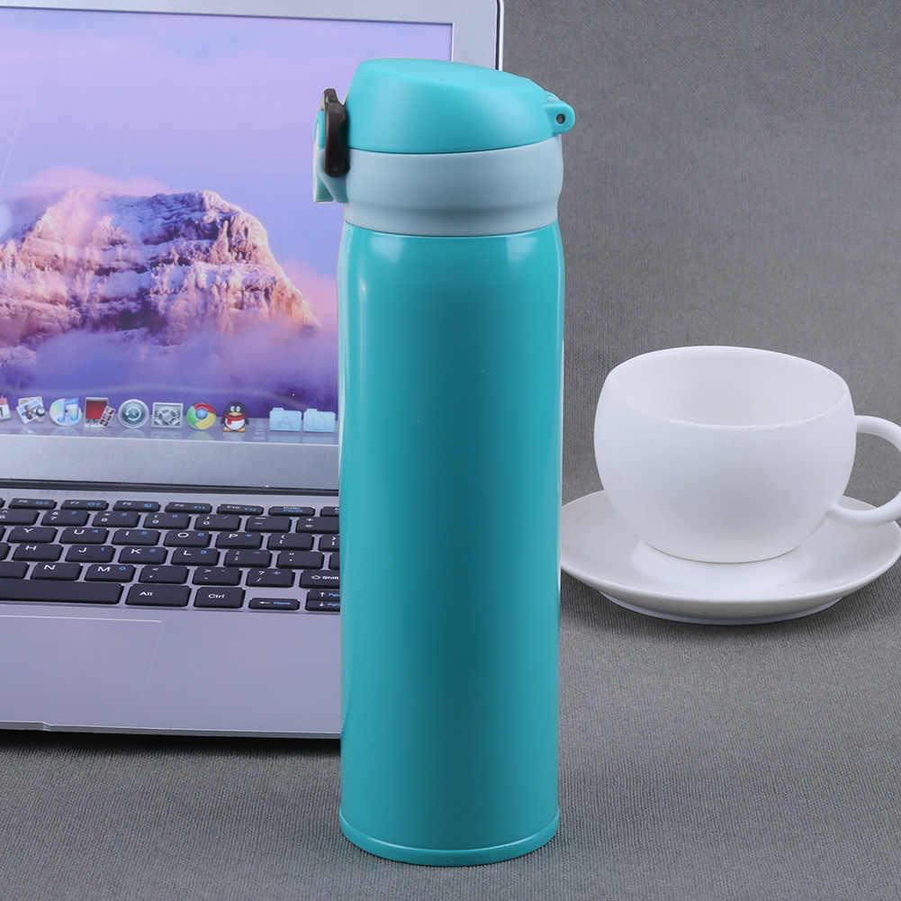 แก้วน้ำร้อนสแตนเลสสตีลผนังคู่ถ้วยสูญญากาศถ้วยโรงเรียนชากาแฟเครื่องดื่มขวด 450ml