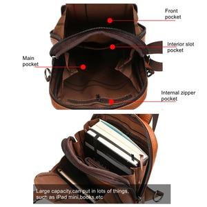 Image 5 - Celinv Koilm Men Crossbody Bag Big Size Daily Chest Bag High Quality Large Capacity Split Leather Daypacks Sling Bag For iPad