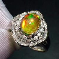 Opal Ring Fine Jewelry Pt900 Platinum Jewelry Mexico Origin Natural Fire Opal 2.17ct Gemstones Female Rings for Women Fine Ring