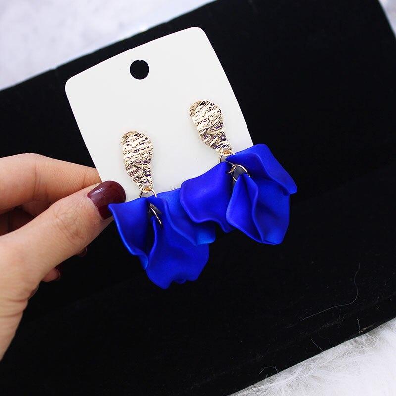 Shiny Side Footprint Stud Earrings For Women Simple Style Elegant Flower Earrings