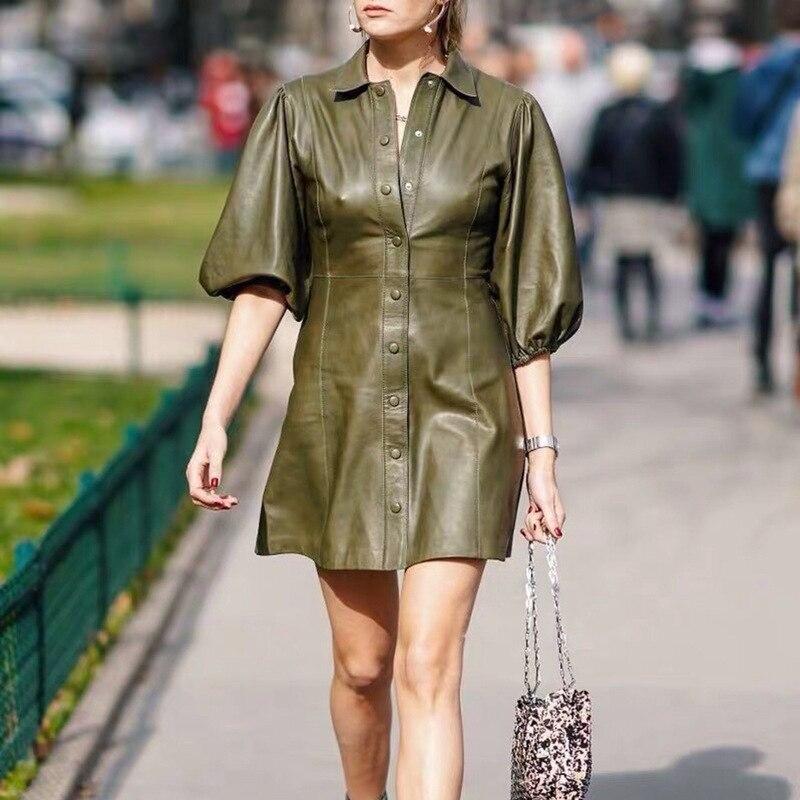 PU Leather Dress Fashion Buttons Women Faux Leather Dress Women Elegant Turn Down Collar Puff Sleeve Short Dress Causal Wear