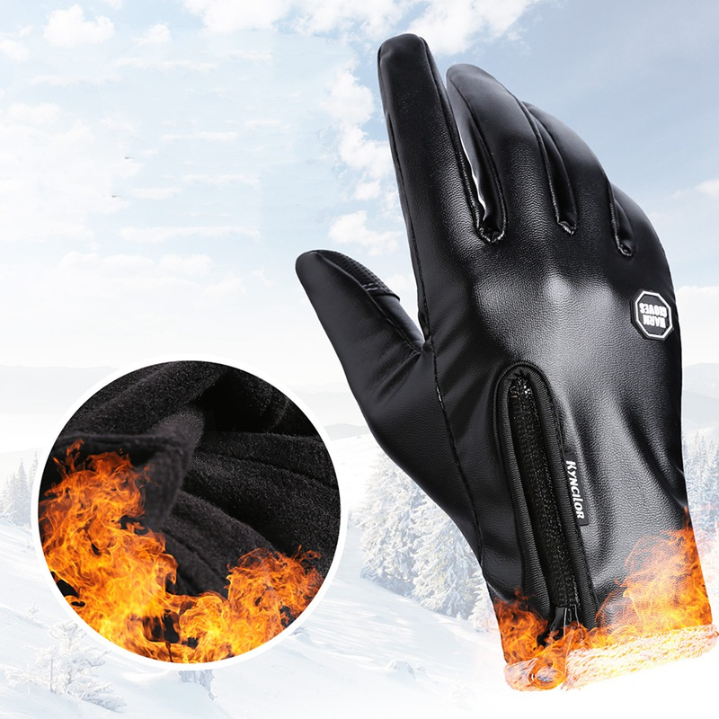 Unisex Winter Leather Plus Velvet Warm Black Glove Driving Touch Screen Zipper Outdoor Windproof Motorcycle Gloves