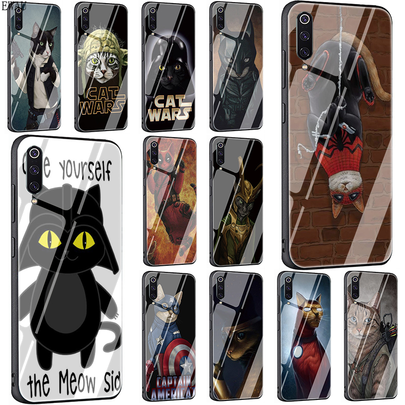 EWAU DARTH MEOW <font><b>Star</b></font> <font><b>Wars</b></font> Tempered Glass Phone <font><b>Cover</b></font> Case For <font><b>Xiaomi</b></font> Mi A1 A2 8 9 <font><b>Redmi</b></font> 4X 6A <font><b>Note</b></font> 5 <font><b>6</b></font> 7 <font><b>Pro</b></font> Pocophone F1 image