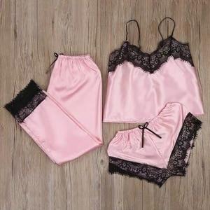 3Pcs Sexy Lingerie Set Chiffon Sleepwear Women Pajama Set Sexy Temptation Babydoll Nightwear Cute Cami Top And Shorts Pijama