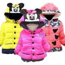 Куртки для маленьких девочек; коллекция года; сезон осень-зима; куртка для девочек; зимнее пальто с Минни Маус; детская одежда; теплая верхняя одежда для детей; пальто; большие размеры