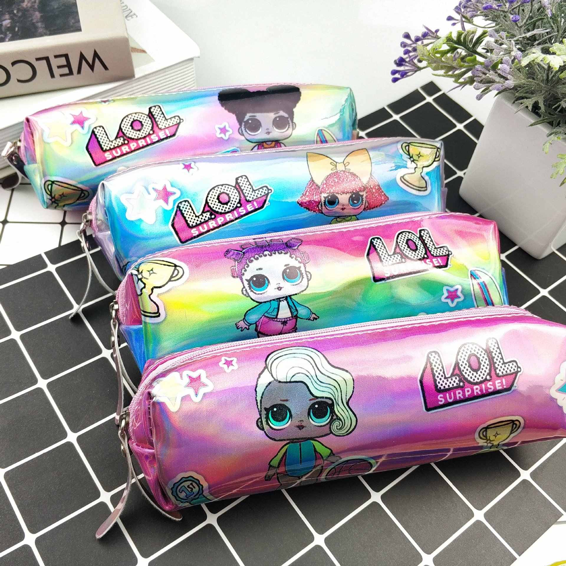 Laser pu square green print cartoon lol surprise doll girl pencil case back to school pen case pencil bag student stationery