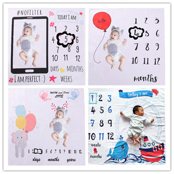 12 Monthly Baby Milestone Blanket Monthly Baby Blankets Newborn Photography Props Background Accessories Blanket Photo Camera wings pattern baby milestone blanket