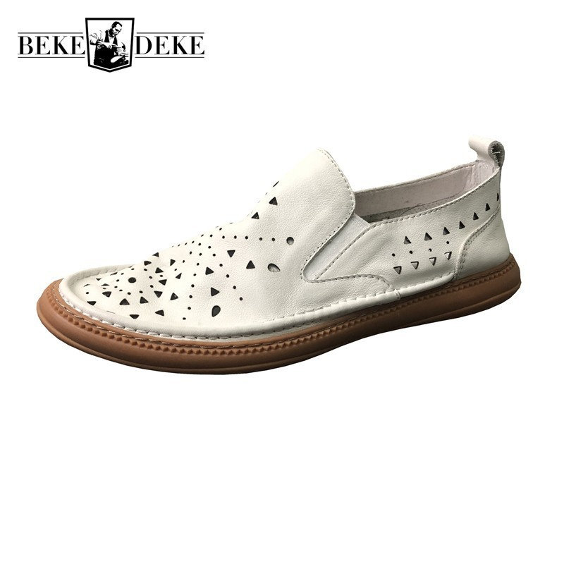 Summer Mens Hollow Out Breathable Slip On Round Toe Loafers High Quality Genuine Leather Male Soft Comfort Casual Flat Shoes
