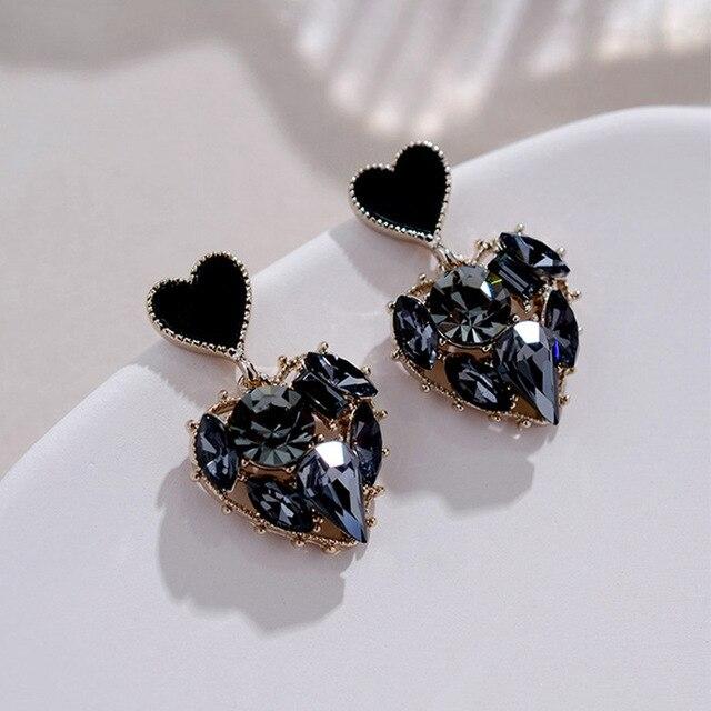 2020 New Arrival Trendy Grey Crystal Love Heart Dangle Earrings For Women Sweet Fashion Jewelry Fashion Oorbellen 3