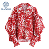 2021 Spring Red Vintage Print Blouses Flare Long Sleeve Chic Pearl Single Breasted Shirts HongKong Style Cardigan Loose Ins Tops 1