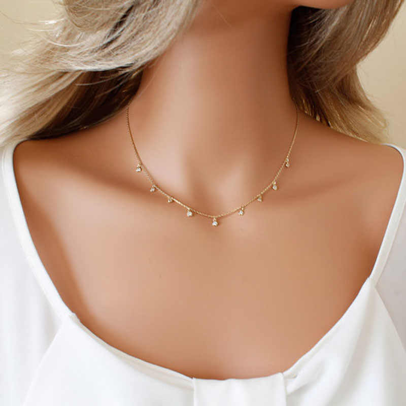 Cute Crystal Choker Necklace Women Clavicle Chain Charm Dainty Necklace Jewelry Collier Femme XL1016