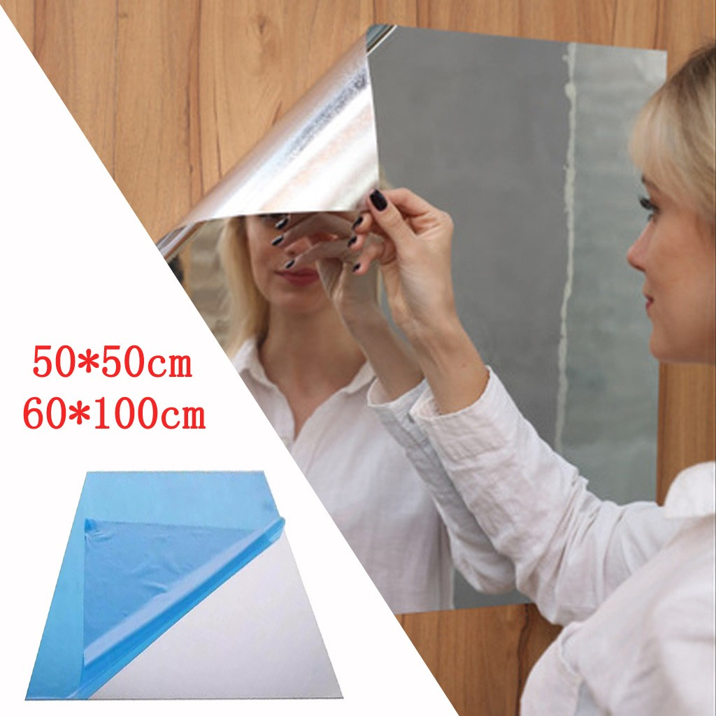Dressing mirror pasted on the wall Self-Adhesive pasted and spliced household student dormitory  full-body bathroom mirrors