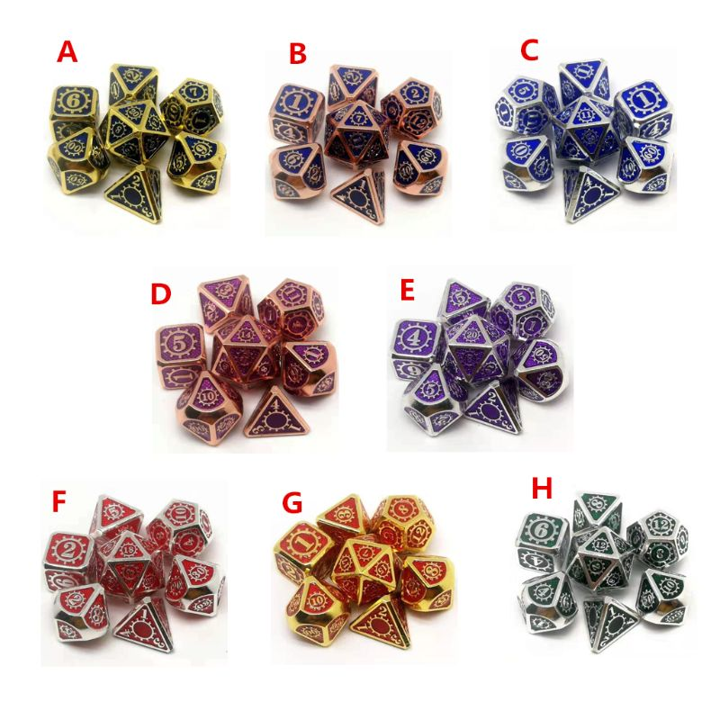 <font><b>Metal</b></font> Dice 7pcs/set RPG Dice D&D Board Game Magic Props D4 D6 D8 D10 D12 <font><b>D20</b></font> NEW image