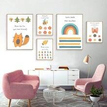 цена Children Poster Nursery Wall Art Canvas Print Cartoon Painting Nordic Decoration Wall Picture for Baby Bedroom онлайн в 2017 году